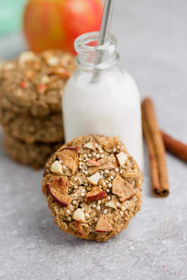 apple cinnamon breakfast cookies made with oats paired with milk