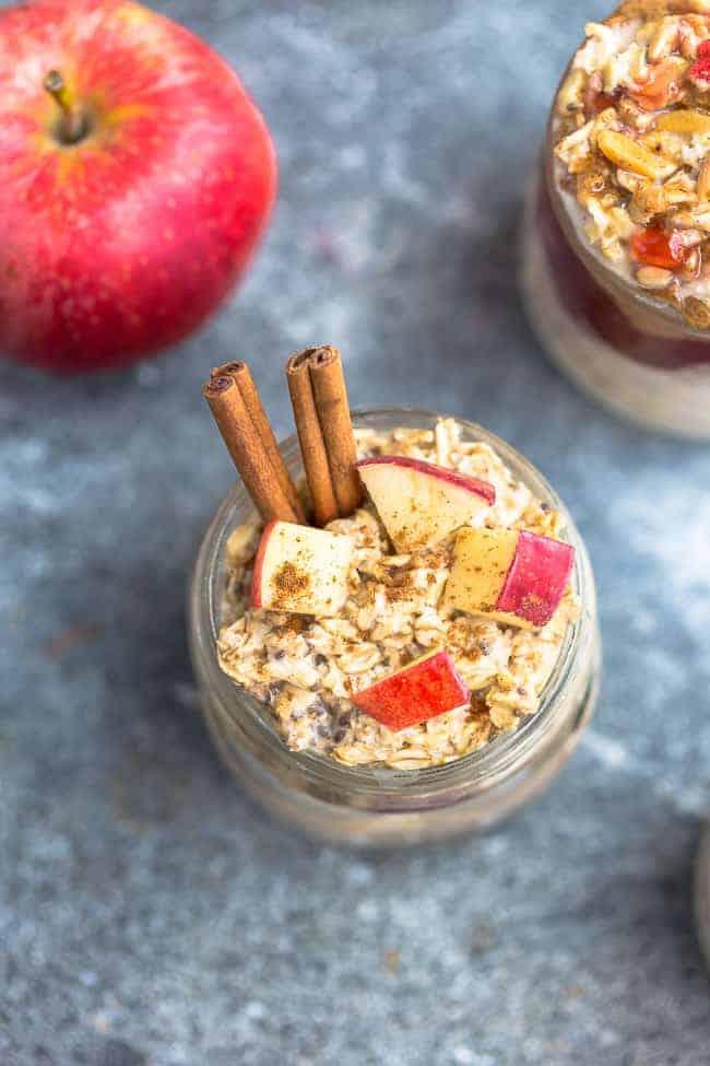 overhead image of the best overnight oat recipes with apples and cinnamon