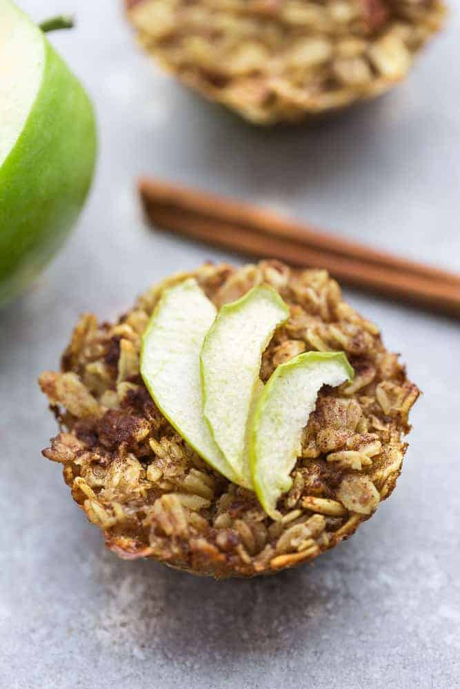 Overhead image of baked oatmeal cups with apples.