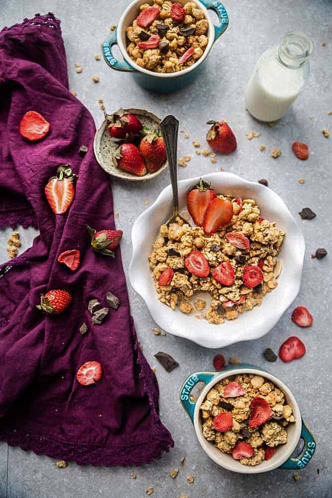 Overhead image of granola made with oats and strawberries.