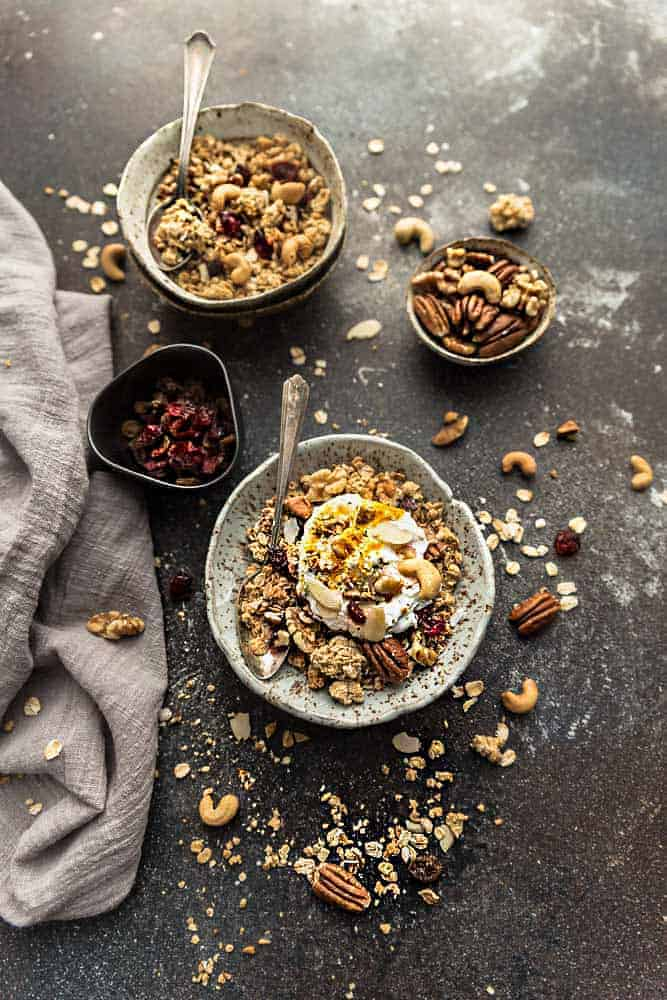 Coconut and cardamom granola made with oats.
