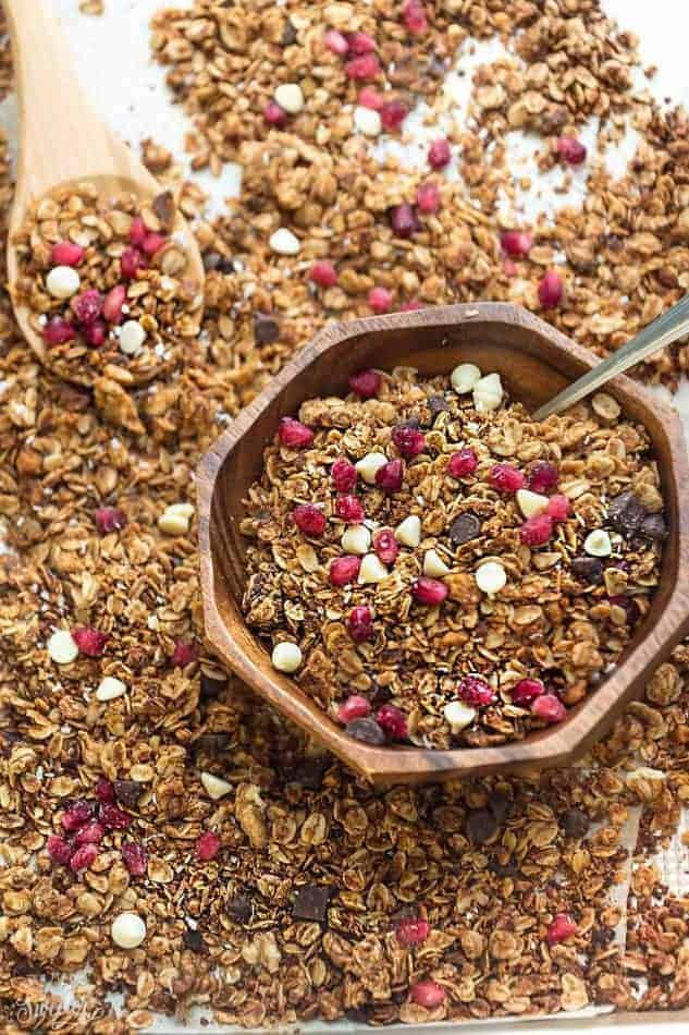 Pomegranate and chocolate granola made with oats.
