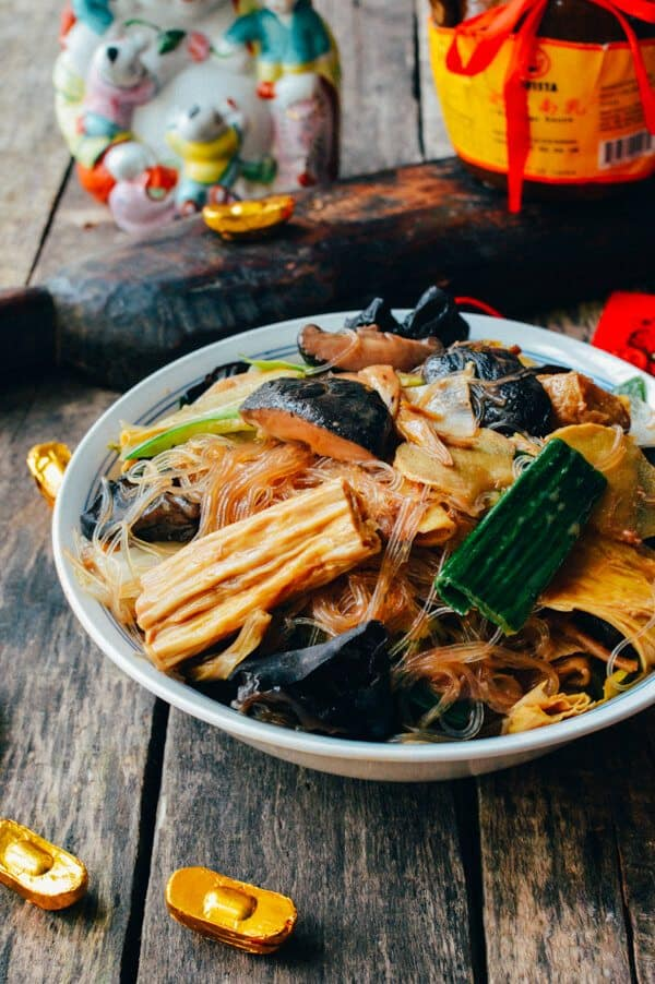 Vegetarian Buddha's Delight stir fry with rice noodles in a bowl