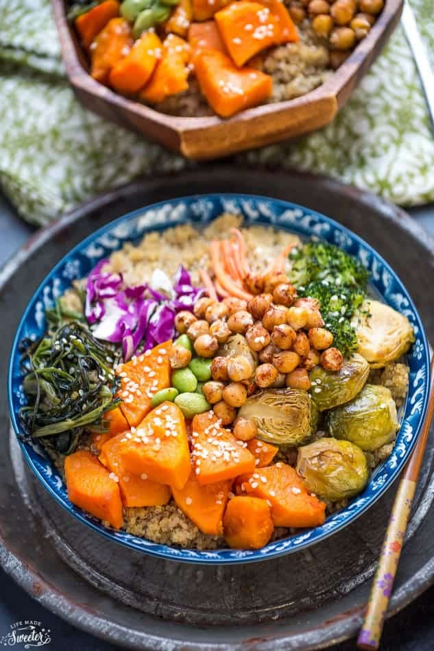 Overhead image of roasted vegetable bowls using canned beans