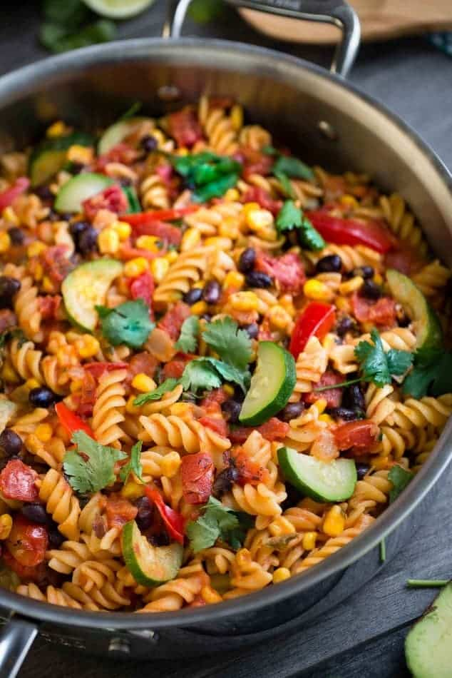 overhead image of one pan taco pasta using canned black beans