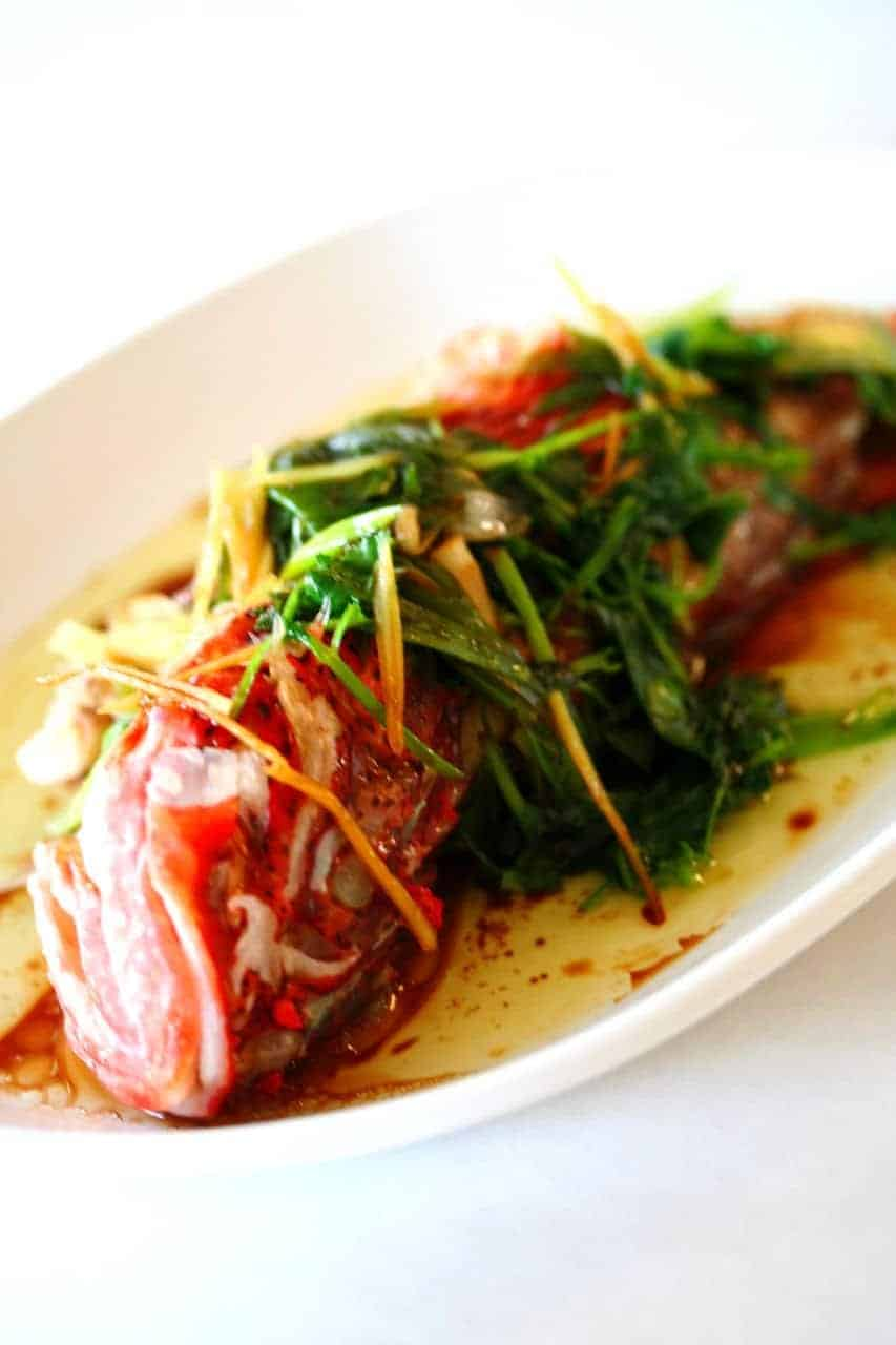 Steamed fish on a plate topped with wilted chives