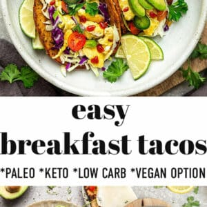 Pinterest image with breakfast tacos and several toppings.