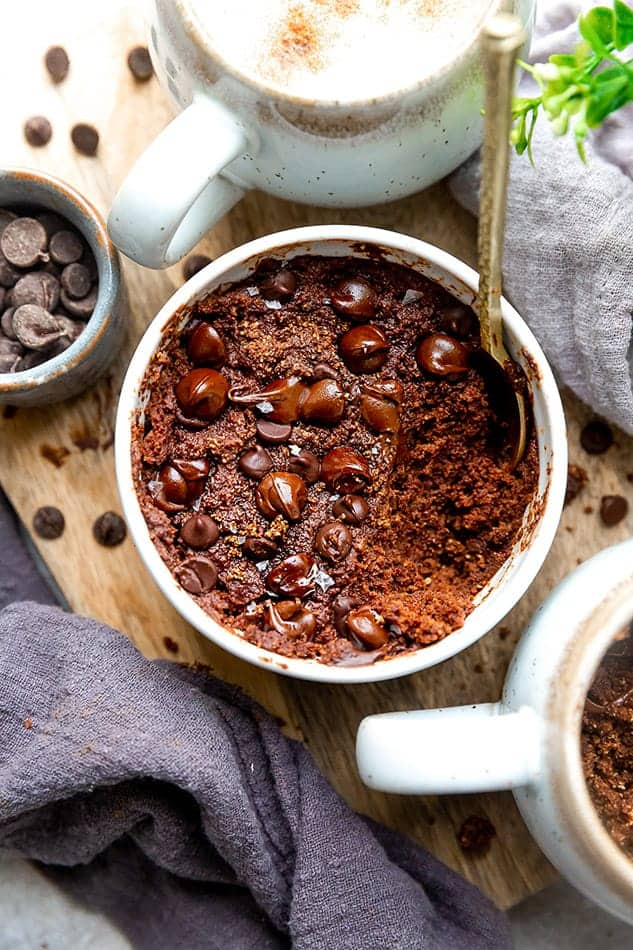 Vegan Chocolate Mug Cake as an easy eggless dessert.