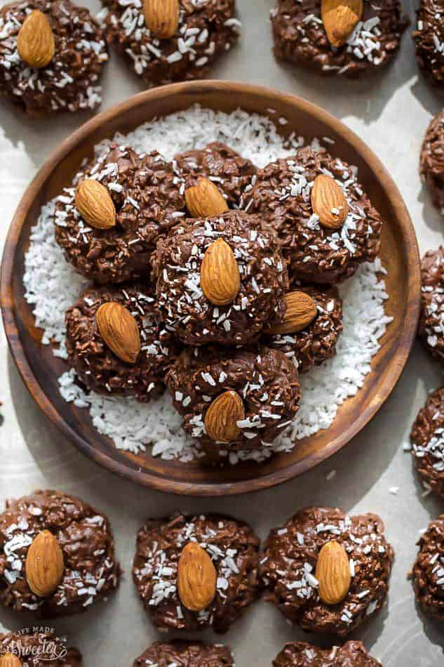 no bake cookies as easy eggless desserts filled with chocolate and coconut flakes