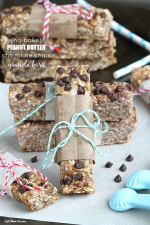 Healthy Peanut Butter Chocolate Chips Granola Bars on parchment paper.