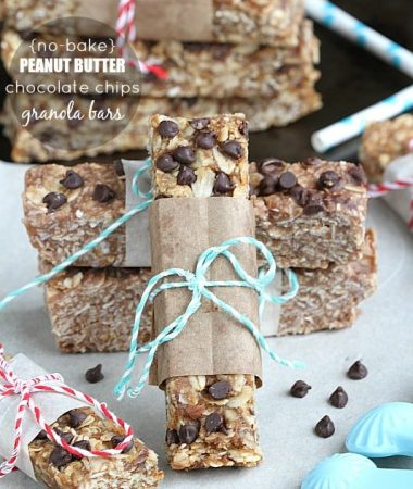 {No-Bake} Peanut Butter and Chocolate Chips Granola Bars