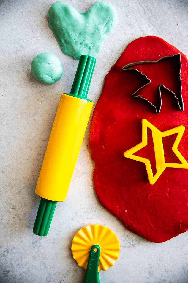 red playdough with fun crafting tools
