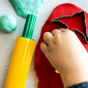 pinterest image for red homemade playdough