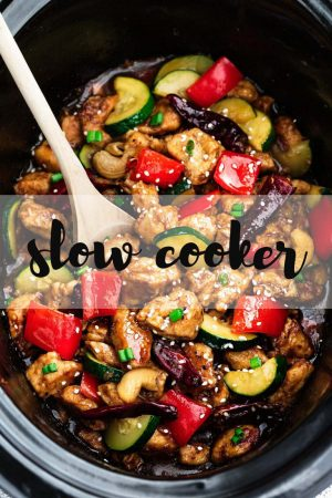Healthier Slow Cooker Kung Pao Chicken (+Instant Pot)