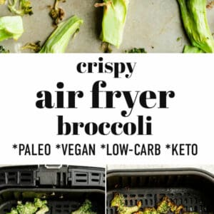 Pinterest image for air fryer broccoli.