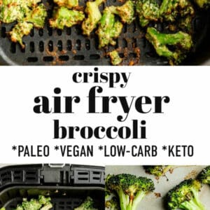 Pinterest graphic for broccoli in the air fryer.