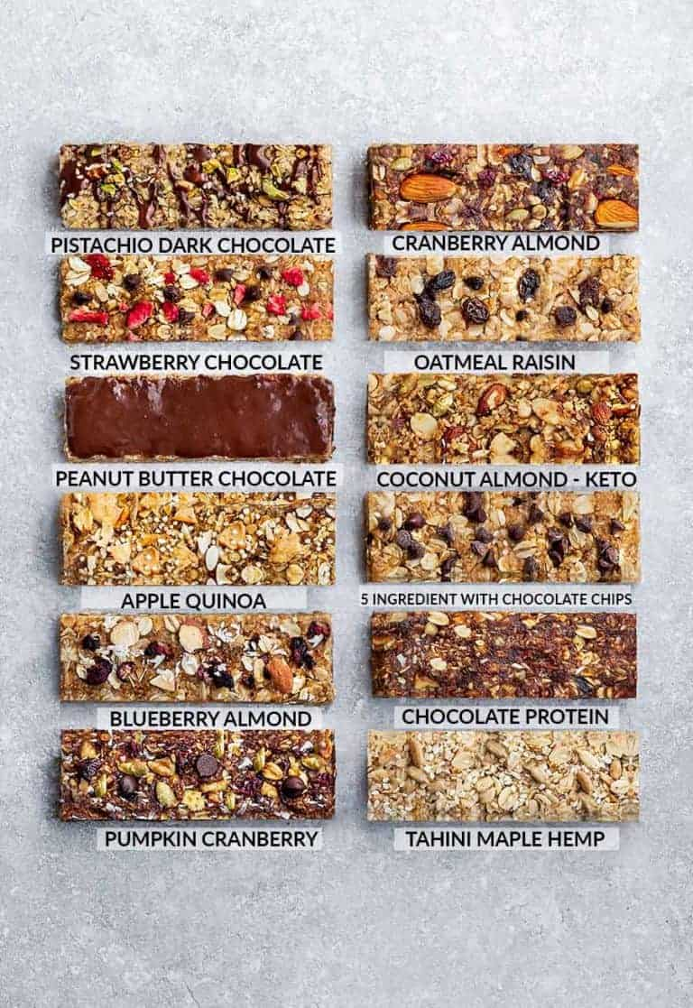 12 different granola bar recipes perfect as pantry staples