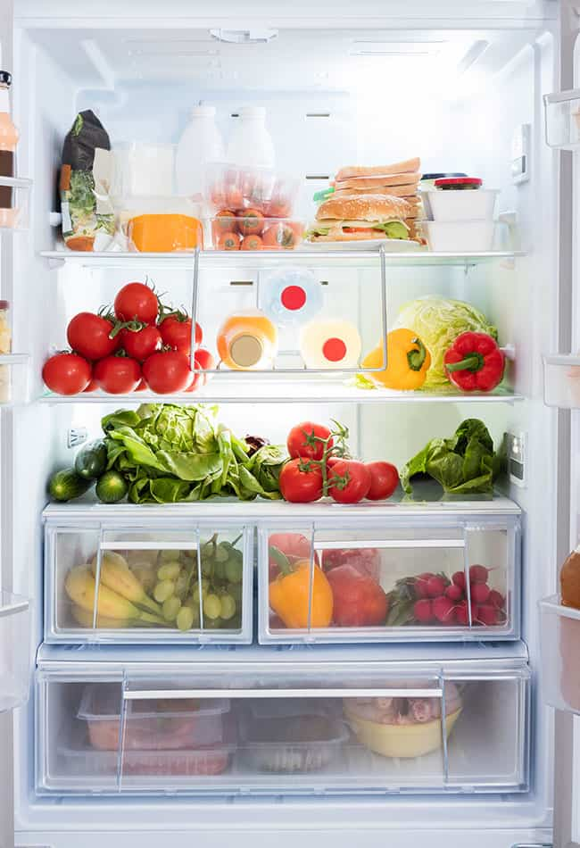 refrigerator filled with produce