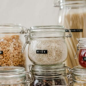 pinterest image of pantry staples for healthy eating