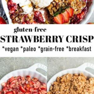 Pinterest image of gluten-free strawberry crisp.