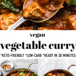 Pinterest image for vegetable curry.