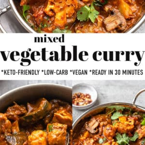 Pinterest graphic for mixed vegetable curry.
