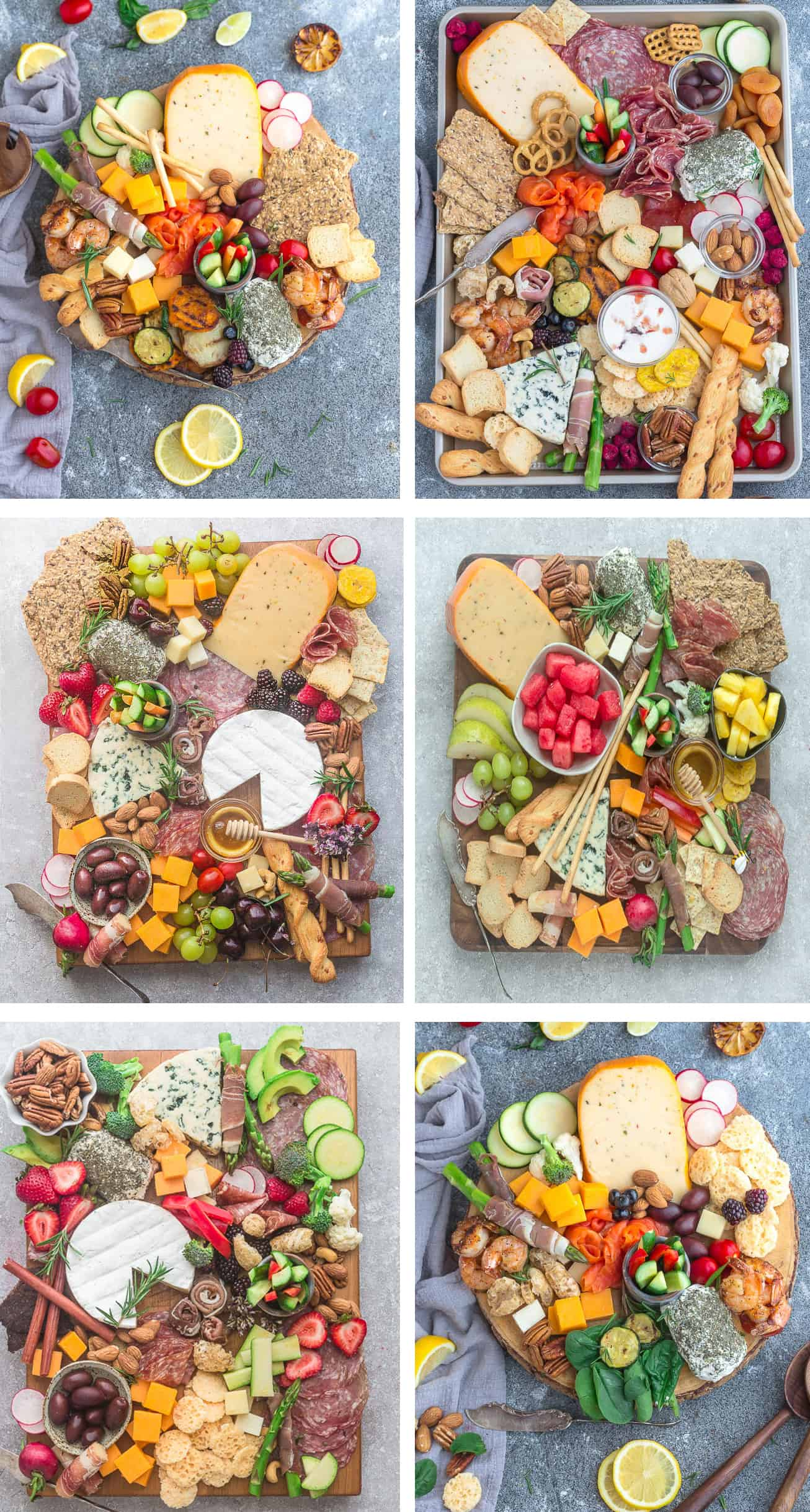 Collage of 6 Charcuterie and Cheese Board examples
