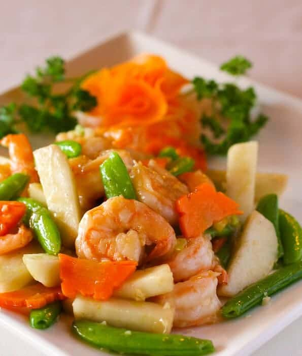 Pear and Shrimp stir fry with vegetables