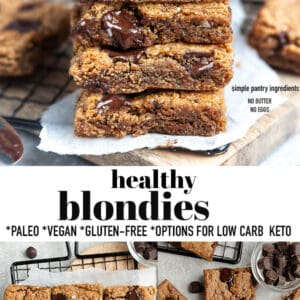 Pinterest collage for Healthy Blondies recipe