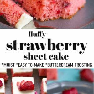 Pinterest image for strawberry sheet cake.