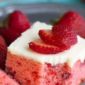 Close-up of strawberry sheet cake photo for Pinterest.