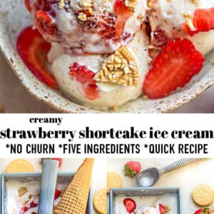 Pinterest collage for strawberry shortcake ice cream