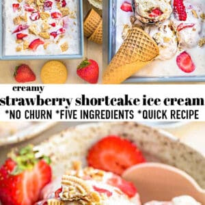 Pinterest collage for strawberry shortcake ice cream.