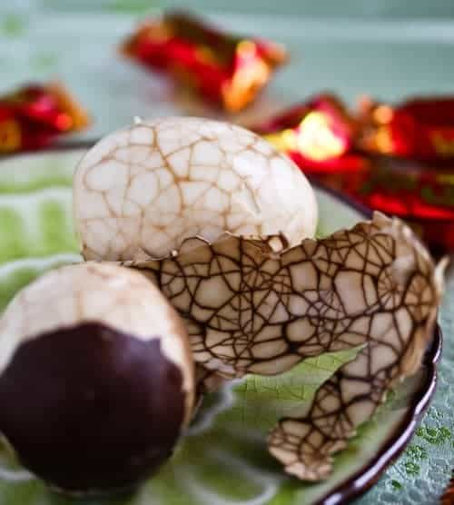 Chinese Tea Eggs with brown crackled finish