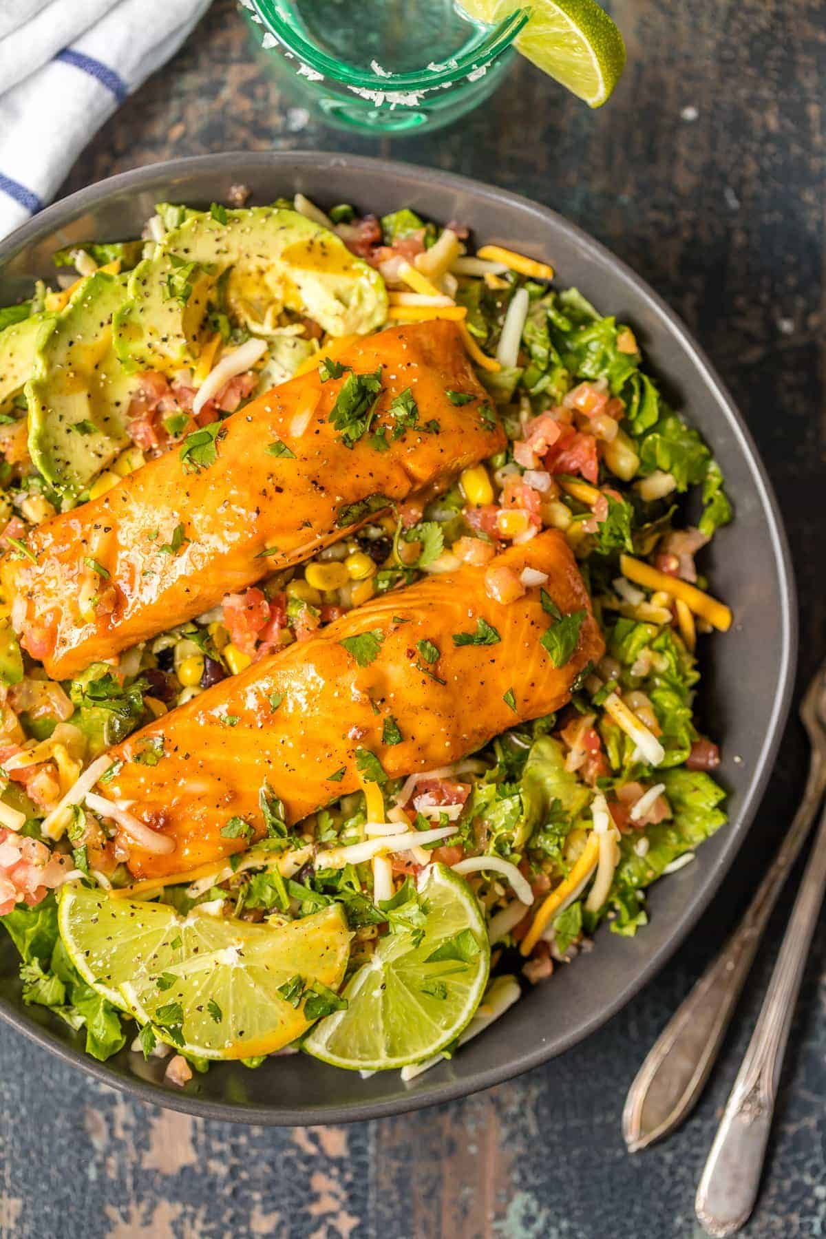 Overhead view of Tequila Lime Salmon Salad in a bowl